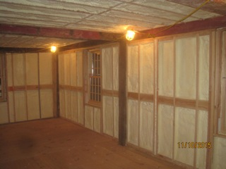 """1750s town hall, R40 walls, 6"""" Close Cell Spray Foam"""